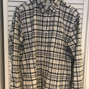 Steven Alan Navy and White Flannel Shirt Medium